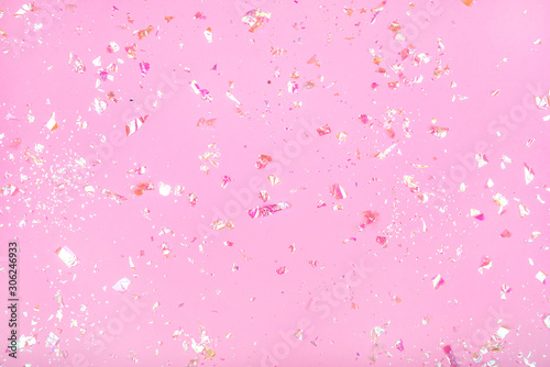 Fototapeta Pearl confetti on pink background. obraz na płótnie