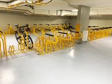 NOvember 2019 - Brisbane, Queensland, Australia.  Basement Of Commercial City Building Showing End Of Trip Facility. Showing Bike Racks, Concrete Floor And Walls.
