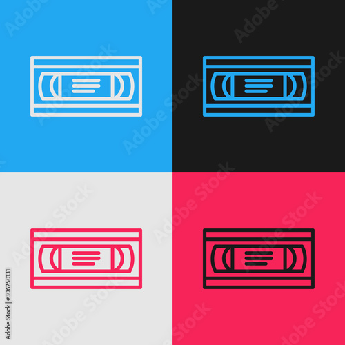 Color line VHS video cassette tape icon isolated on color background Canvas-taulu