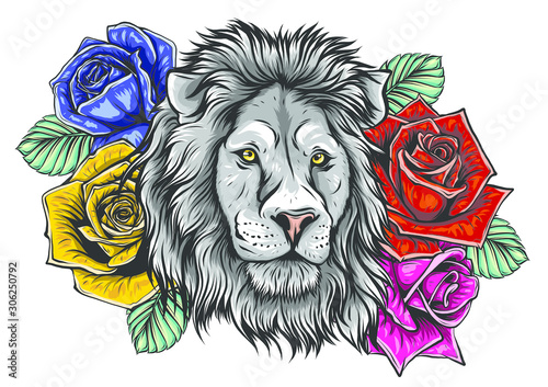 the-head-of-a-lion-in-a-flower-ornament-vector