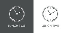 Logotipo Con Texto Lunch Time. Icono Plano Lineal Con Reloj Con Cubiertos En Fondo Gris Y Fondo Blanco
