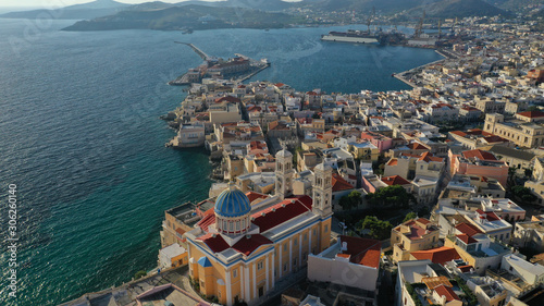 Fototapety, obrazy: Aerial drone photo of picturesque port of Syros or Siros island main town of Ermoupolis, Cyclades, Greece
