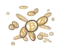 Gold Cryptocoin Bitcoin Explosion. Isolated On White