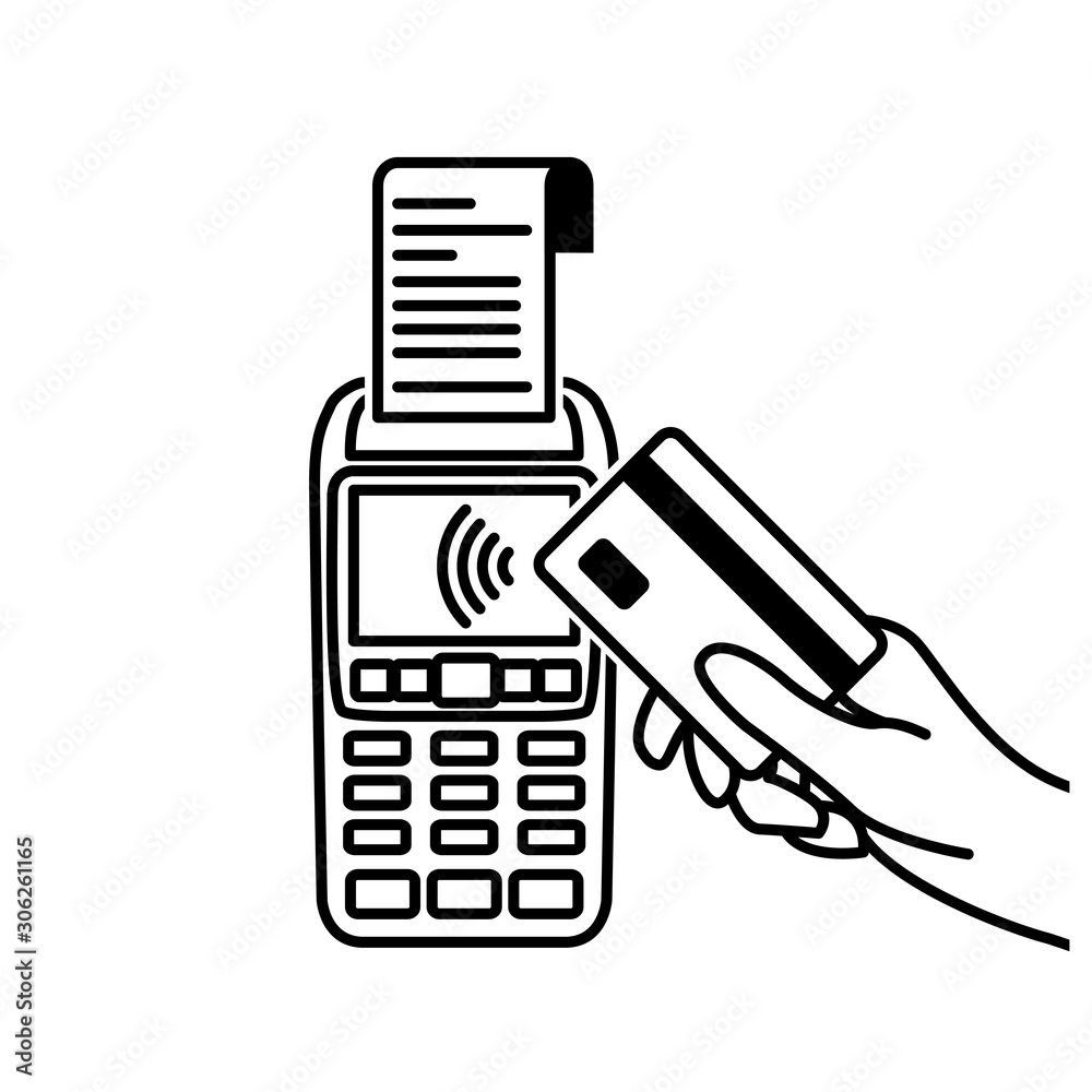 Fototapeta Vector Outline of NFC Payments. Pos terminal confirms contactless payment from credit card.