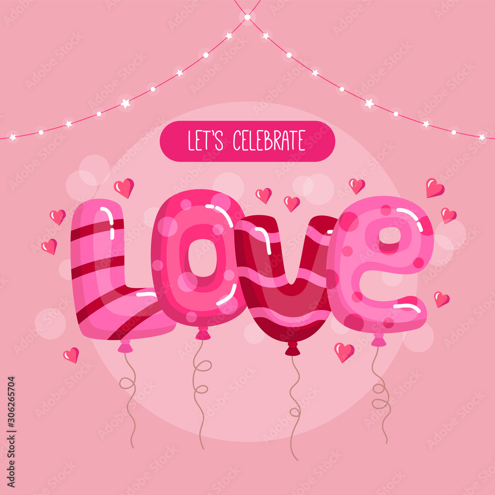 Happy Valentine s Day concept. Balloons in love text shape on the pink background. Place for text.