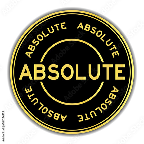 Photo Gold color absolute word round sticker on white background