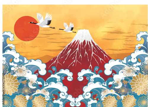 Tablou Canvas 初日の出と赤富士と海:年賀状 赤富士 富士山 ご来光 海 初日の出 太陽 鶴