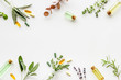 canvas print picture - Apothecary of natural wellness and self-care. Herbs and medicine on white background top view frame copy space