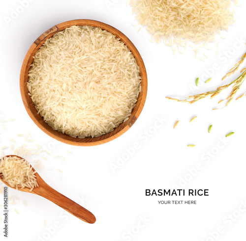 Creative layout made of basmati rice on white background Wallpaper Mural