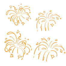 Golden Doodle Fireworks Isolated On White Background Symbol For Celebration, Party Icon, Anniversary, New Year Eve. Hand Drawn Style