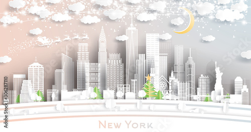 Fototapeta New York USA City Skyline in Paper Cut Style with Snowflakes, Moon and Neon Garland. obraz