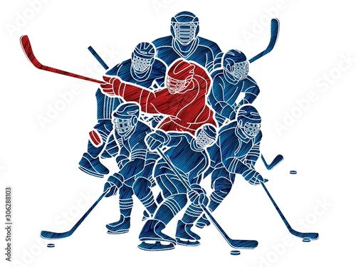 Ice Hockey players action cartoon sport graphic vector. Wallpaper Mural
