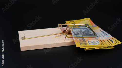 Australian Currency In A Rat Trap Canvas Print
