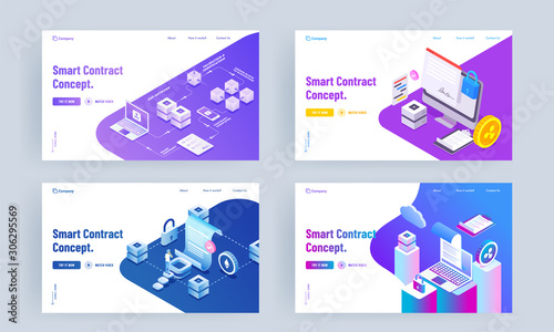 Photo Smart Contract Concept based landing page design with different platforms in four option