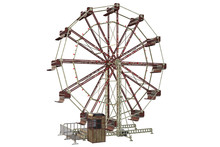 Vintage Ferris Wheel Isolated On White, 3d Render.