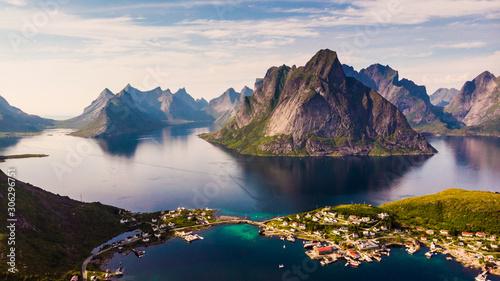 Fjord and mountains landscape. Lofoten islands Norway Canvas Print