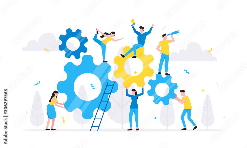 Fototapeta Teamwork concept with tiny people characters working together with big gears cog wheels settings icons. Teamwork and time management concept flat style design vector illustration isolated.