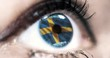 Woman blue eye in close up with the flag of sweden in iris with wind motion. video concept