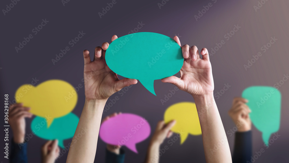 Fototapeta Freedom of Speech Concept. Group of People Protesting or making Campaign with a Blank Speech Bubble. Expression for the Human Rights