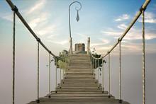 Fantasy Image Of A Bridge Crossing Between Floating Islands, 3d Render.