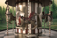 Vintage Carousel / Merry Go Round In The Woods, 3d Render.
