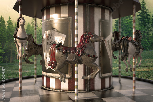 Valokuva Vintage Carousel / Merry go round in the woods, 3d render.