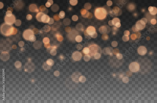 Canvastavla Bokeh lights effect isolated on transparent background