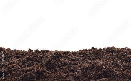 Fotografía bio ground or soil as frame closed up isolated on white