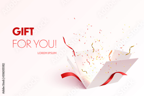 Canvastavla Open gift box with confetti burst explosion isolated