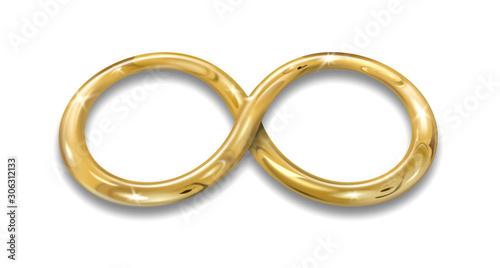 Simbolo infinito - filo oro - su sfondo bianco Tablou Canvas