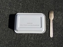 Disposable Bio Corn Starch Tray And Wooden Fork On Concrete Background