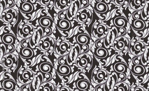 Vászonkép Retro decorative black and white seamless pattern
