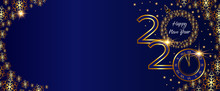 Christmas Golden Banner, 2020 Happy New Year. Clock On New Year S Eve On A Dark Blue Background With Golden Snowflakes. Vector Card.