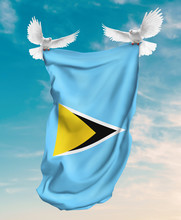 Saint Lucia Flag Carried By White Pigeon With Sky Background