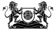 A Lion Heraldic Coat Of Arms Shield Crest Emblem In A Vintage Retro Woodcut Style