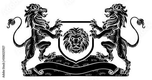 Fototapeta  A lion heraldic coat of arms shield crest emblem in a vintage retro woodcut styl