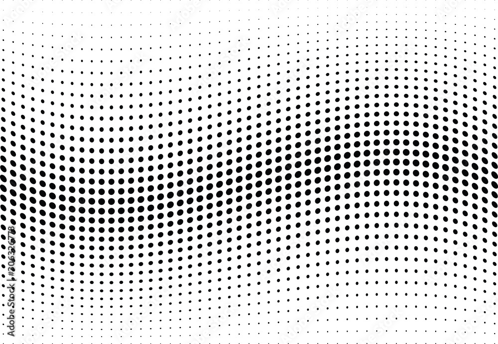 Fototapeta Abstract halftone wave dotted background. Futuristic twisted grunge pattern, dot, circles.  Vector modern optical pop art texture for posters, business cards, cover, labels mock-up, stickers layout