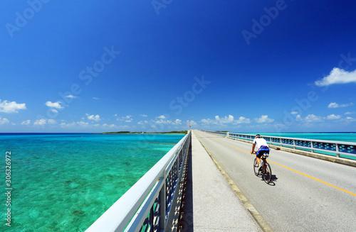 OKINAWA  沖縄 宮古島 池間大橋を疾走するロードバイク JAPAN Canvas Print
