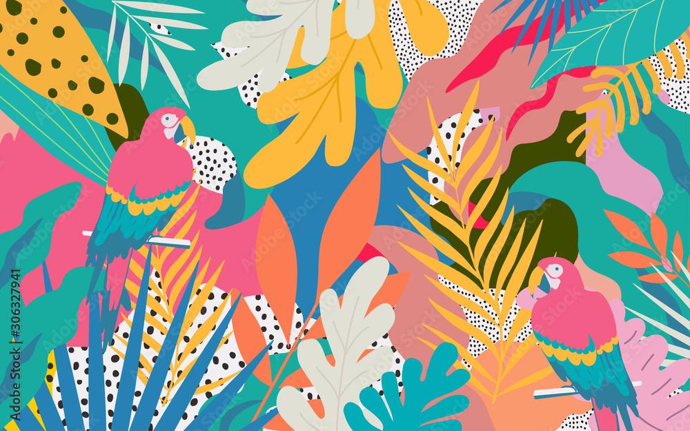 Kolorowi kwiaty i liścia plakatowy tło z papuga wektorowym ilustracyjnym projektem. Egzotyczny druk tropikalnych roślin na podróże i wakacje, modę, spa i wellness, ślub i imprezy <span>plik: #306327941 | autor: blossomstar</span>