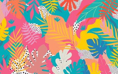 Colorful flowers and leaves poster background vector illustration. Exotic pla...