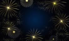 Gold Fireworks In The Sky Frame Illustration