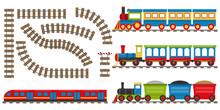 Cartoon Railway And Train. Set...