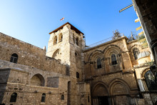 Vew On Main Entrance In At The Church Of The Holy Sepulchre In Old City Of Jerusalem