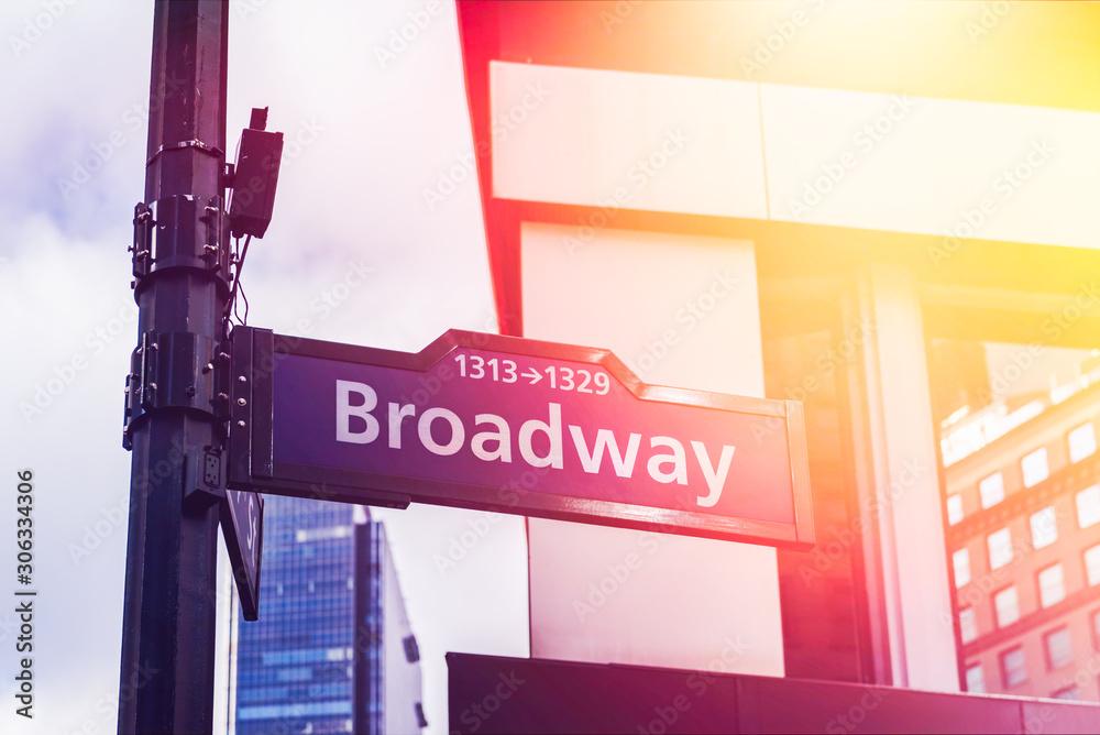 Image of street sign Broadway in Manhattan, New York City