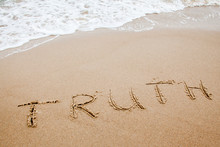 Word Truth Written On The Sand
