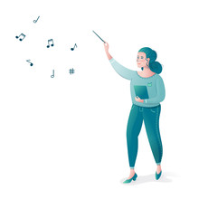 Girl Conductor Controls The Orchestra Plays Classical Music Green Tones Vector Sheet Music Stave Treble Clef Conductor Wand Music Plays