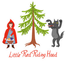 Wolf Girl In A Red Cap And Tree Isolated On White Background. Vector Graphics. Little Red Riding Hood Characters