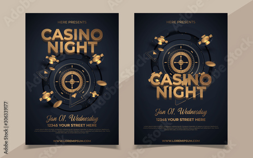 Casino night party template design with casino element on shiny black background and venue details Fototapete