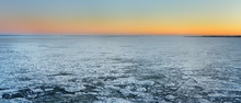 Amazing View Of Frozen Sea Surface During Crossing On The Ferry Boat.