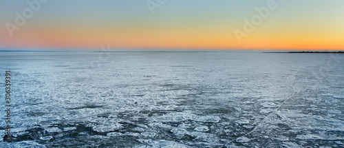Fototapeta Amazing view of frozen sea surface during crossing on the ferry boat. obraz